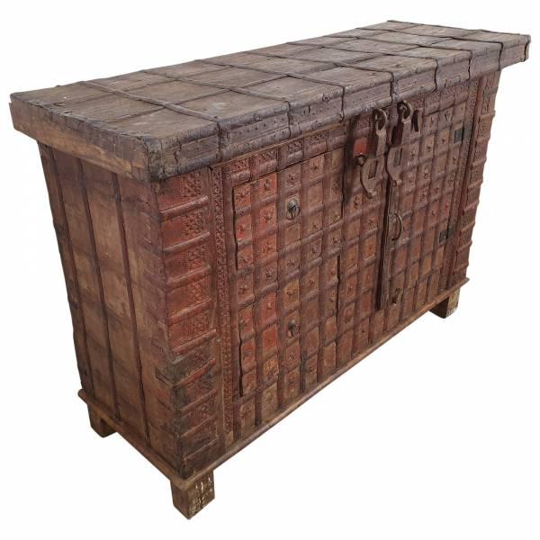 Kommode Truhendesign Vintage Massivholz Altholz 2 Schubladen 1 Tür Unikat 3