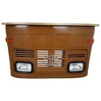 Theke Empfangstresen LKW Bar Tresen Tata klein braun Vintage Design Empfangstheke Metall Anrichte