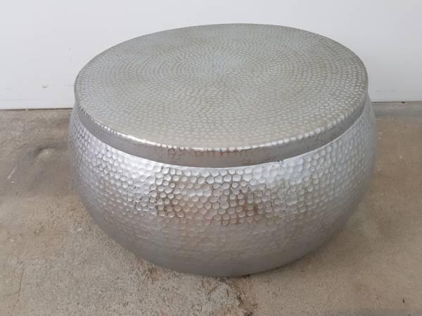 Couchtisch Wohnzimmertisch Loungetisch Tisch Hammerschlag Alu silber Rund Design