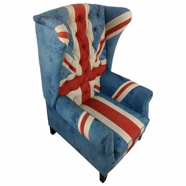 Sessel Clubsessel Ohrensessel Union Jack UK Flagge Motiv England Chesterfield