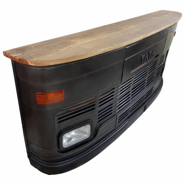 Theke Empfangstresen LKW Bar Tresen Tata groß schwarz Vintage Design Empfangstheke Metall Anrichte