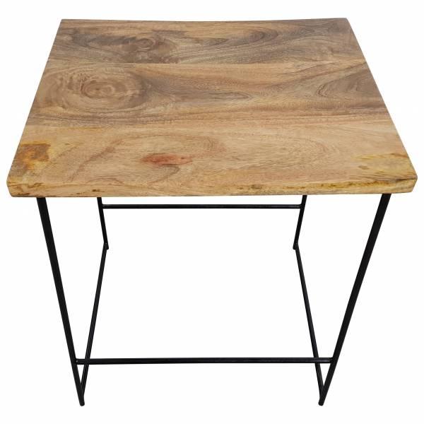 Barhocker Bar-Stuhl Tresenhocker Mango Holz Metall schwarz Hocker Lounge Design