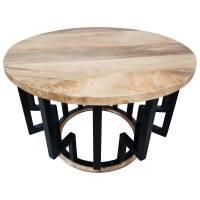 Couchtisch Lounge-Tisch Mango Massiv-Holz Rund Ø Bar Bistro Cafe Industrial