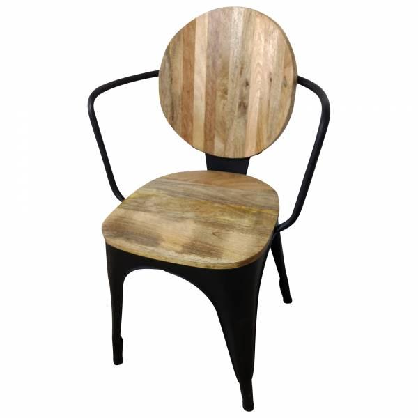 Stuhl Schwarz Esszimmerstuhl Industrie Design Mango-Holz Handarbeit Industrial