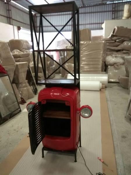 Traktor Schrank Regal rot Industrie Barschrank mit Metall Holz 2 3 4 Ferguson