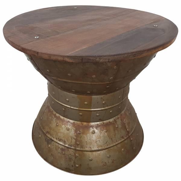 Couchtisch Lounge-Tisch Altholz Massivholz 60 cm Rund Loft Look Industrial Style