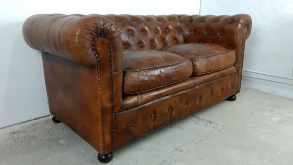 Sofa Couch Lounge Chesterfield 2 Sitzer Leder Antik Look Design Art Deco 50er