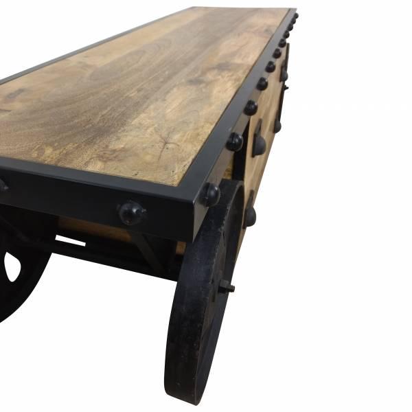 TV-Lowboard Möbel mit Rädern Sideboard Schrank Mango-Holz Industrial Design Loft