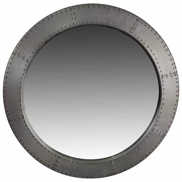 Spiegel rund Wandspiegel groß silber Ø 90 cm Alu Aviator Industrie Design Airman