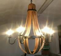 Kronleuchter Pendelleuchte Decken-Lampe 6 flammig e14 Holz Metall xl 80 Ø Design