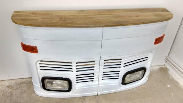 Theke Empfangstresen LKW Bar Tresen Tata klein weiß Vintage Design Empfangstheke Metall Anrichte