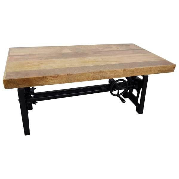 Couchtisch Mango höhenverstellbar Kurbel Wohnzimmertisch Vintage Crank Table