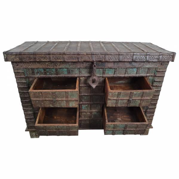 Kommode Truhendesign Vintage Massivholz Altholz 4 Schubladen Unikat 1
