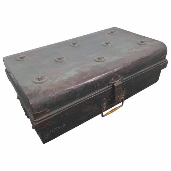 Alter Koffer Metall Vintage Metallkoffer alte Kiste Metalllkiste shabby Unikat 1