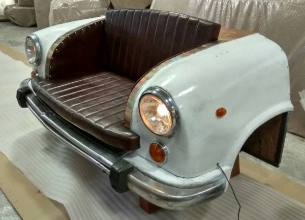 Autosofa Auto-Couch Möbel Sofa Sitzbank als 2 Sitzer Autofront Car Metall TukTuk