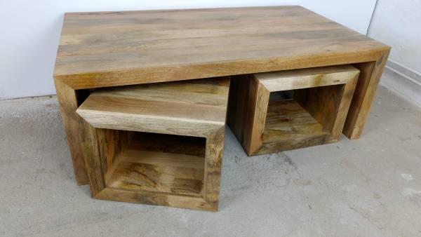 Couchtisch Wohnzimmertisch Mango-Holz Massiv platzsparend Möbel Set Funktion
