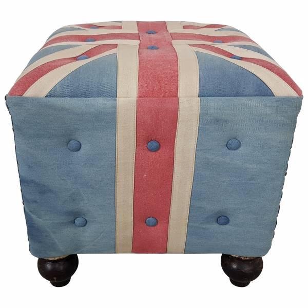 Sitzhocker Sitzwürfel Hocker Union Jack UK Flagge Motiv England Chesterfield Art