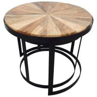 Beistelltisch Satztisch 2er Set Ø rund Wohnzimmertisch Tisch Wohnzimmer Massivholz
