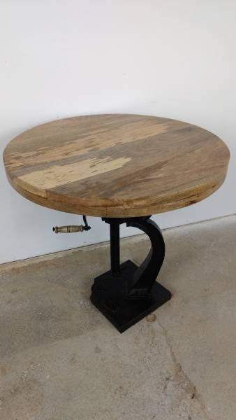 Stehtisch Bartisch Bistrotisch Tisch Höhenverstellbar Ø 76 cm Mango Holz Crank