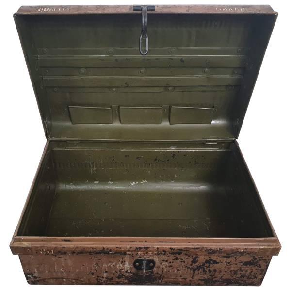 Alter Koffer Metall Vintage Metallkoffer alte Kiste Metalllkiste shabby Unikat 6