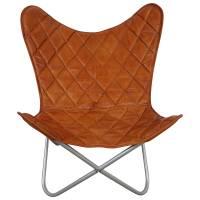 Butterfly Chair Sessel Design Lounge Stuhl Leder braun Loungesessel Retro Art